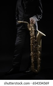 Sax player Jazz musician saxophone player. Saxophonist with jazz instrument.