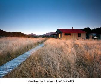Saxon Hut, Heaphy Track great walk, Kahurangi National Park, New Zealand