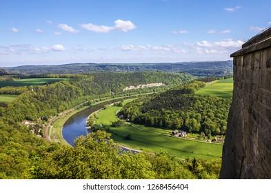 Saxon Switzerland landscape, Germany. Castle Koenigstein.