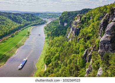 Saxony, Germany. Elba river, natural landscape