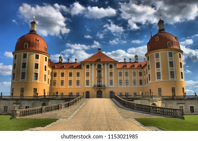 Saxony, Germany - July 27, 2018: Facade of Moritzburg Castle in Saxony, Germany