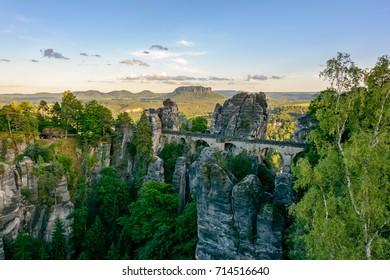 Saxony. Germany landmark - Bastei Bridge in the National Park Saxon Switzerland
