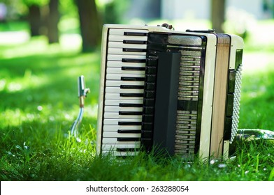 Saxophone and accordion in the nature