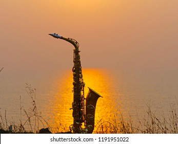 Saxophone Alto at sunset
