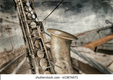 Saxophone close-up with Brooklyn bridge in background with dirty blurry effect