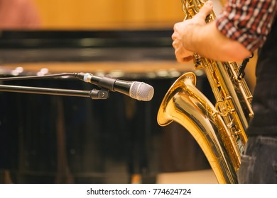 Saxophone closeup at a concert