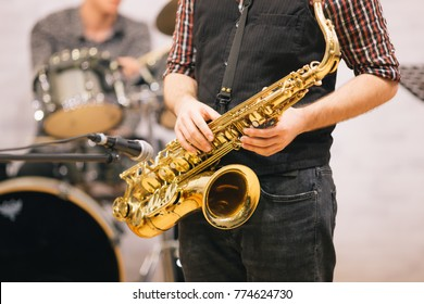 Saxophone closeup at a concert