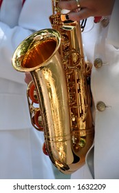 saxophone details in a band