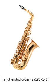 Saxophone -  Golden alto saxophone classical instrument isolated on white