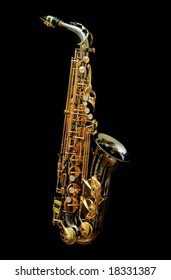 Saxophone isolated in black background