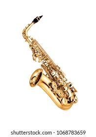 saxophone isolated under the white background