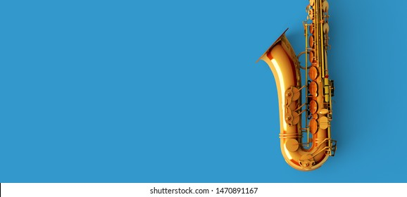 Saxophone for jazz music on blue background color