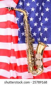 saxophone on the USA flag