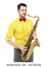 saxophone player in yellow  t-shirt and  bowtie .  guy playing the saxophone over a white background