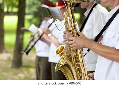 Saxophone players in a military band
