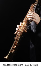Saxophone wind instrument Jazz musician. Sax player playing blues music