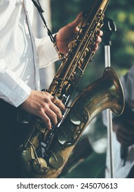 saxophonist play jazz music vintage color tone