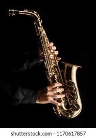 saxophonist playing alt saxophone