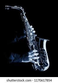 saxophonist playing alt saxophone, blue image