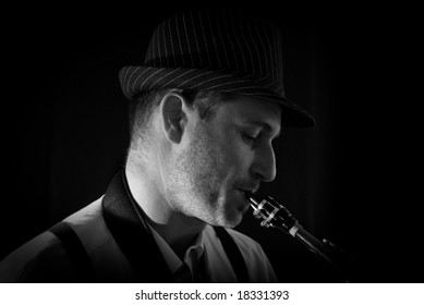 Saxophonist Series: close-up of the musician while playing.