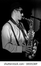 Saxophonist Series: Musician with his shadow