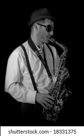 Saxophonist Series: Musician playing in Striped hat