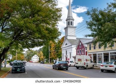 Saxtons River, Vermont, USA. September 25, 2020. Main Street, Saxtons River, VT.