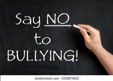 Say no to bullying teacher blackboard or chalkboard