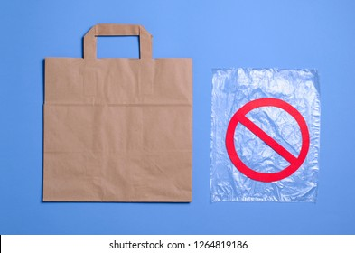 Say No to Plastic Bags, Recycle Concept, Eco Friendly Paper Bag and Plastic Packet, Plastic Problem Concept