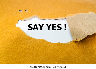 Say yes  text  on brown envelope