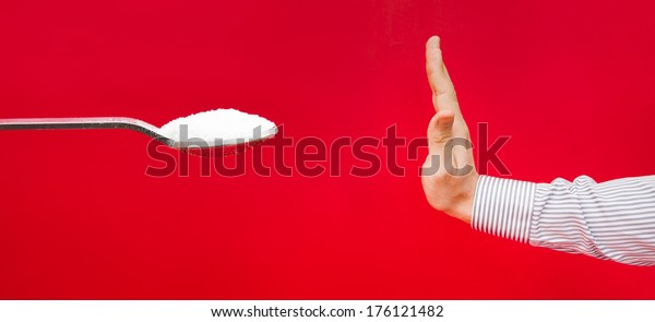 Saying no to sugar because of a diet to avoid weight gain and diabetes