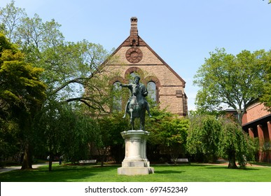 Sayles Hall and Caesar Gordian III statue in Brown University, Providence, Rhode Island, USA.