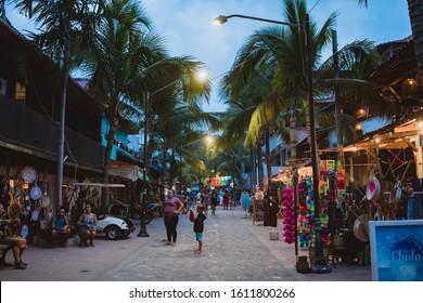 Sayulita, Nayarat, Mexico - January 2019: Nightlife in Sayulita