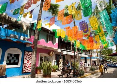 Sayulita, Nayarit, Mexico, 17 October 2019, Colourful Mexican flags decorating the town of Sayulita, Mexico