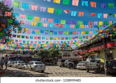 Sayulita street with flags, Sayulita, Nayarit, Mexico, Dic 6 2016