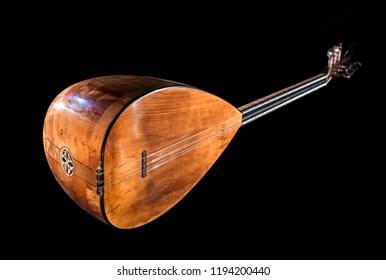 Saz baglama Turkish Music Instrument Isolated on a Black Background