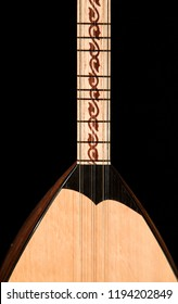 Saz baglama Turkish Music Instrument Isolated on a Black Background