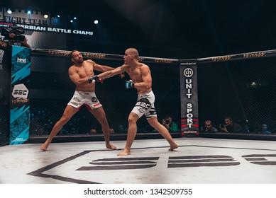 "SBC 12, Sportska Dvorana SPENS - December 1st, 2018: Duško Todorović and Michel ""Demolidor"" Pereira during the fight in octagon cage at SBC Revenge in Novi Sad, Serbia 2018"