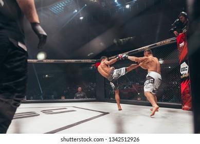 "SBC 12, Sportska Dvorana SPENS - December 1st, 2018: Slavoljub Mitić and Alex ""Leko"" da Silva during the fight in octagon cage at SBC Revenge in Novi Sad, Serbia 2018"