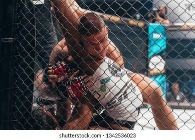 SBC 12, Sportska Dvorana SPENS - December 1st, 2018: Ognjen Salatić and Osama El Zein during the fight in octagon cage at SBC Revenge in Novi Sad, Serbia 2018