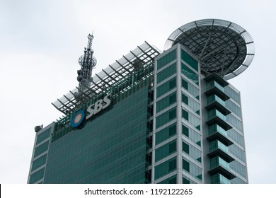 The SBS Broadcasting Center is a high-rise building located in Mok-dong, Yangcheon-gu, Seoul, and the headquarters of SBS. (Seoul, Korea. Sept. 15, 2018)