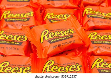 SC, USA Oct 2016. Illustrative editorial image of Reese's Peanut Butter Cup Candy Background. Peanut butter cups are a favorite snack food in the USA and are used in a lot of dessert recipes