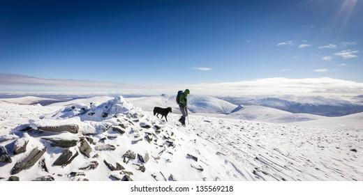 Scafell Summit in Winter snow