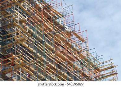 scaffold building renovation construction site skyscraper