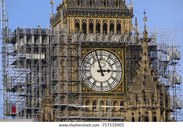 Scaffolding around the Elizabeth Tower, more commonly known as Big Ben, during the extensive restoration and repairs of the Houses of Parliament.