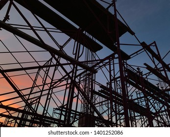 Scaffolding before sunset in construction site