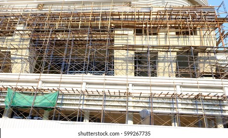scaffolding with building construction