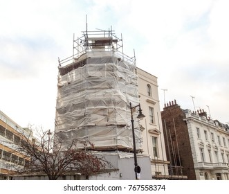 Scaffolding for building works on residential house in Pimlico, London