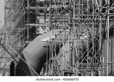 Scaffolding was built power plant