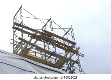 scaffolding construction site high work metal structure